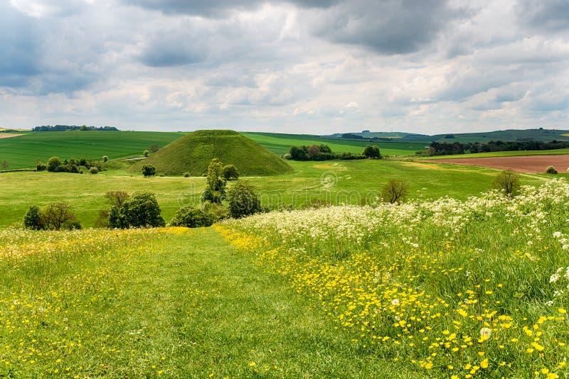 Silbury wzgórze w Wiltshire obrazy stock