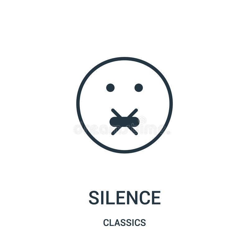 silence icon vector from classics collection. Thin line silence outline icon vector illustration. Linear symbol royalty free illustration