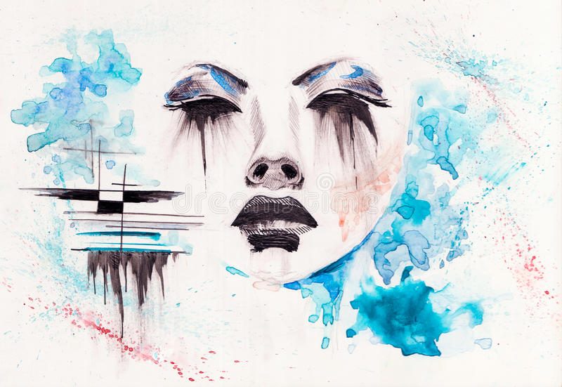 Silence. Illustration of Girl using watercolors stock illustration