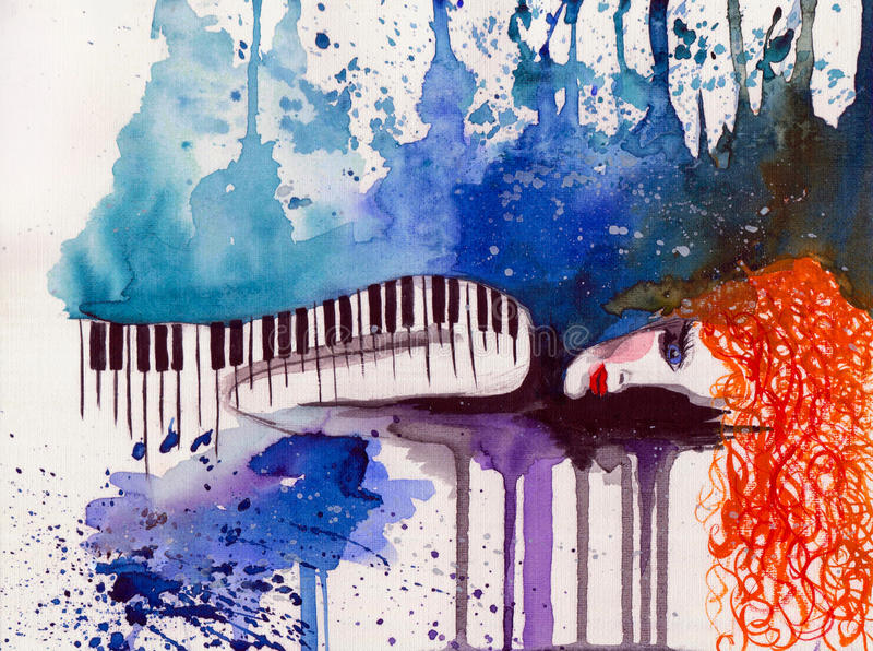 Silence. Illustration of piano Girl using watercolors vector illustration