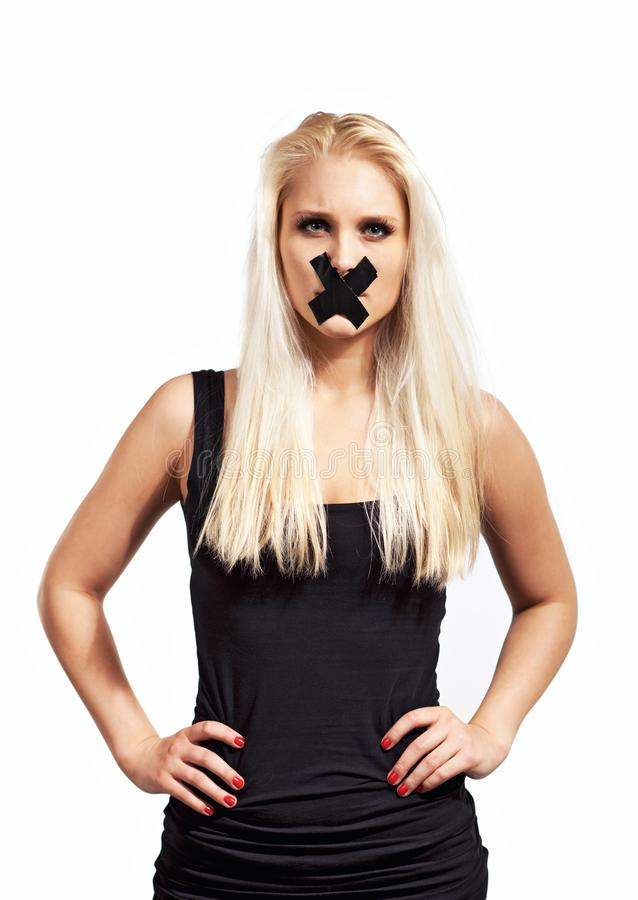 Silenced Woman in Protest stock photos