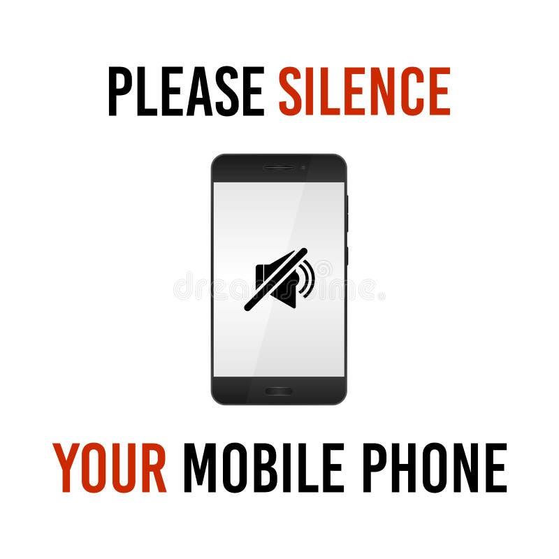 Silencie por favor seu telefone celular, sinal do vetor ilustração do vetor