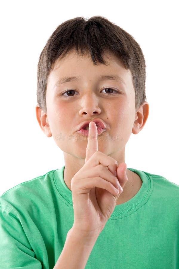 Silencio que ordena del niño adorable foto de archivo libre de regalías