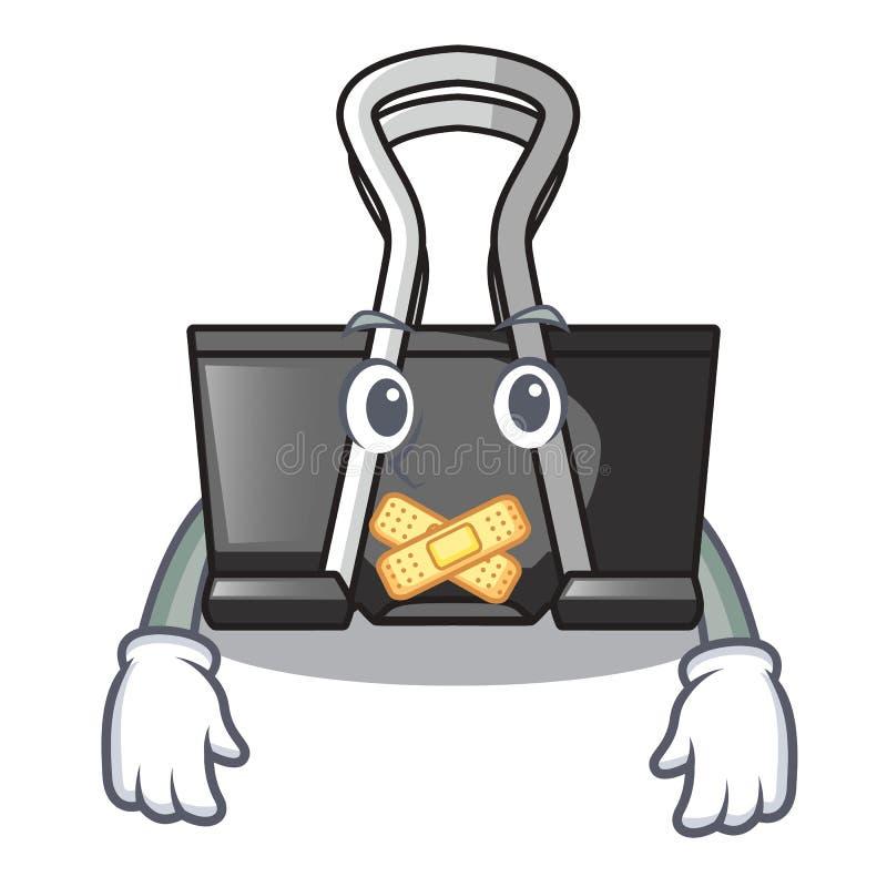 Silent binder clip for charcter on documents. Vector illustration royalty free illustration