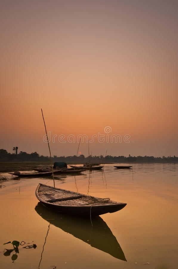 Silent boat stock image