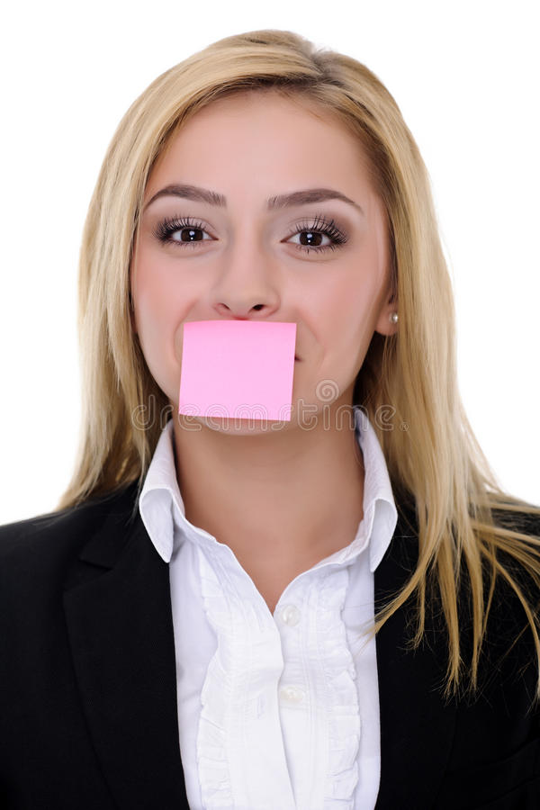 Silent business woman royalty free stock image