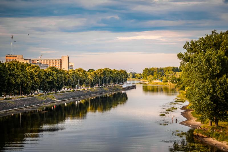 Silent city river reflection autumn landscape. River water panorama. River Pina in Pinsk city, Belarus stock photo
