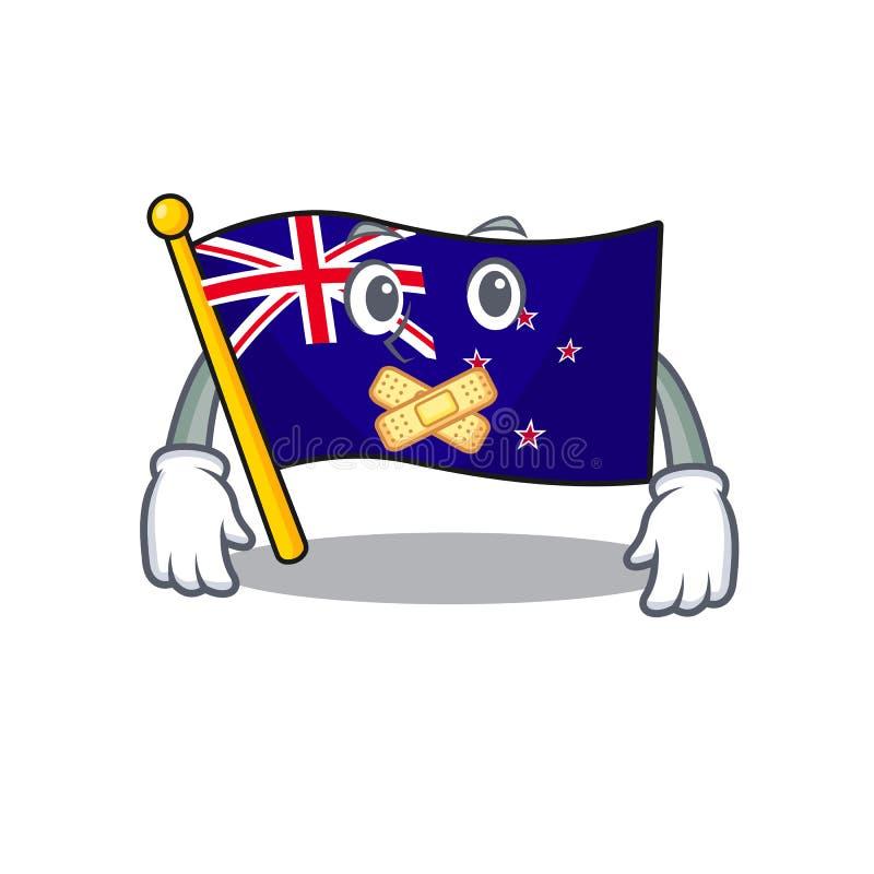 Silent flag new zealand in cartoon drawer. Vector illustration stock illustration