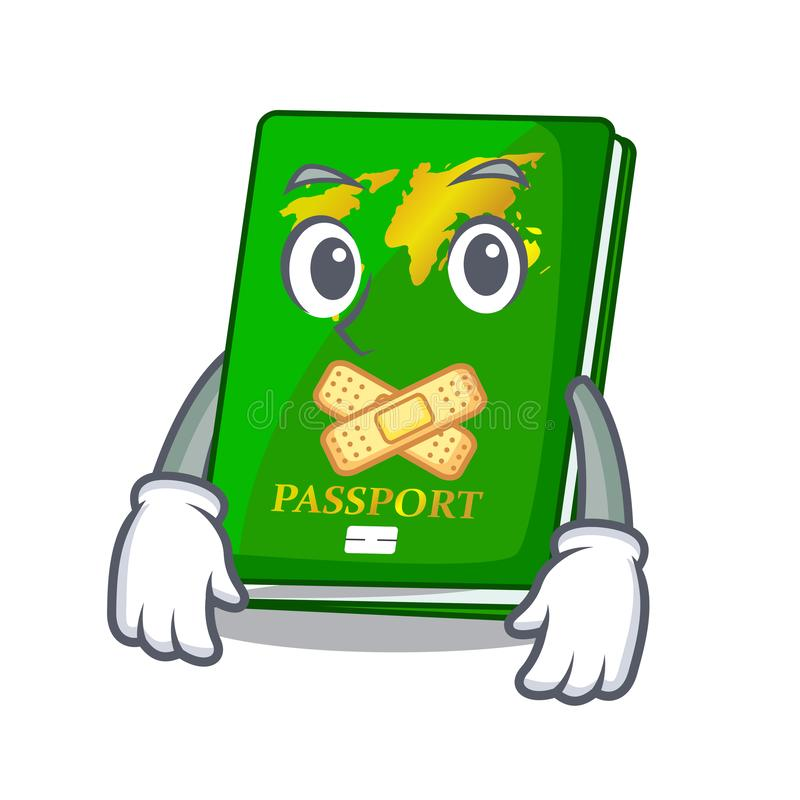 Silent green passport on the mascot table royalty free illustration