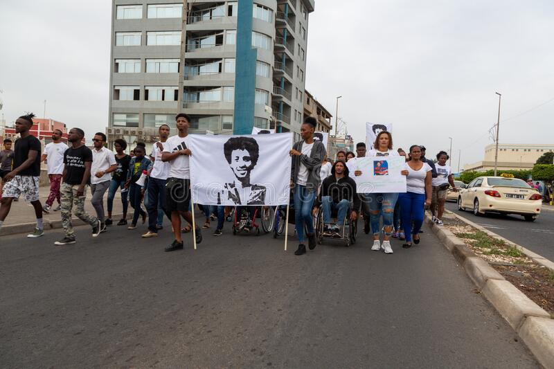 Silent March in Honor of Luis Giovani Rodrigues royalty free stock photo