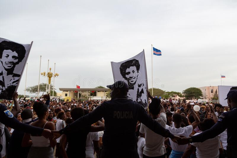 Silent March in Honor of Luis Giovani Rodrigues stock images