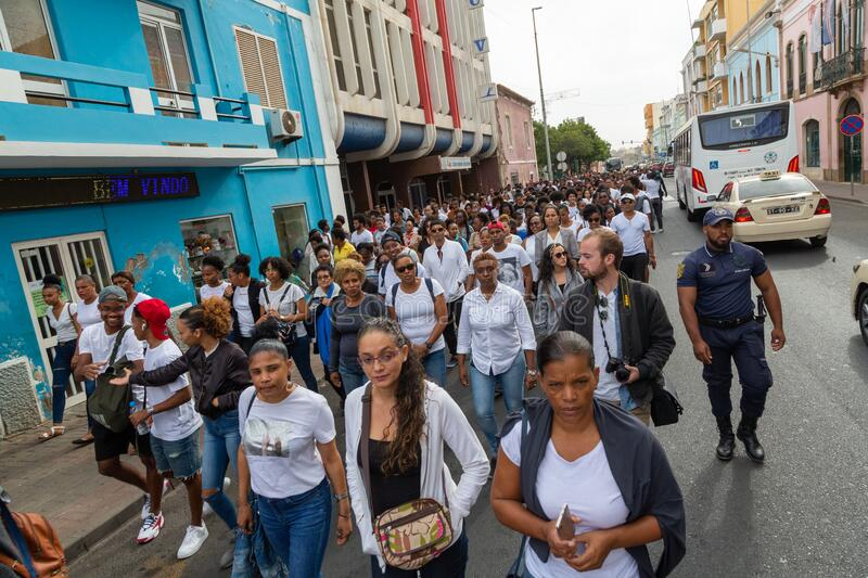 Silent March in Honor of Luis Giovani Rodrigues royalty free stock photography
