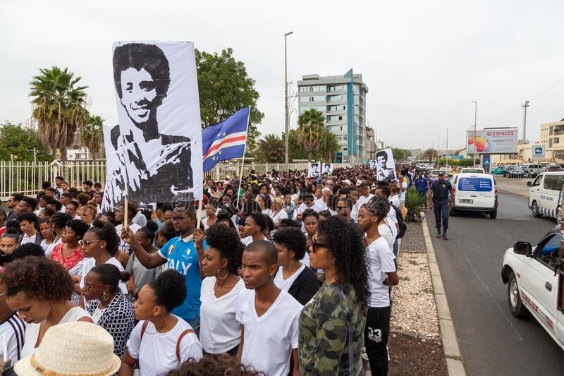 Silent March in Honor of Luis Giovani Rodrigues royalty free stock images