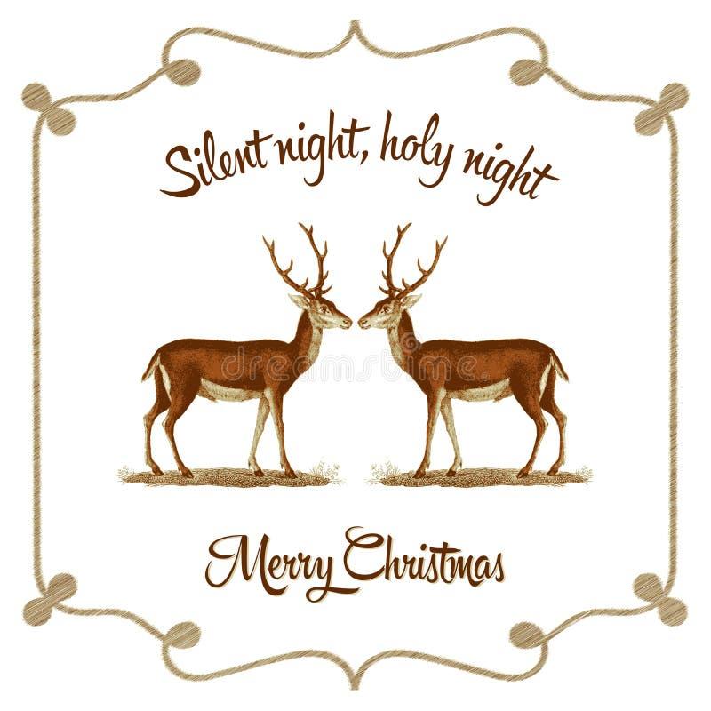 Silent night, holy night - Christmas card royalty free illustration