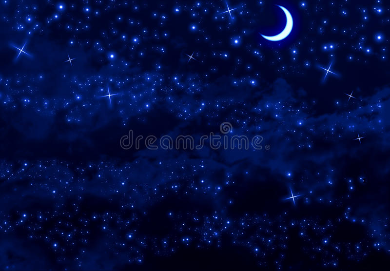 Silent Night Sky. Silent blue night sky with moon, stars and clouds royalty free stock photos