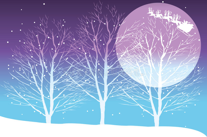 Silent night. Winter landscape with Santa Claus in his sleigh on background in rainbow-colors vector illustration