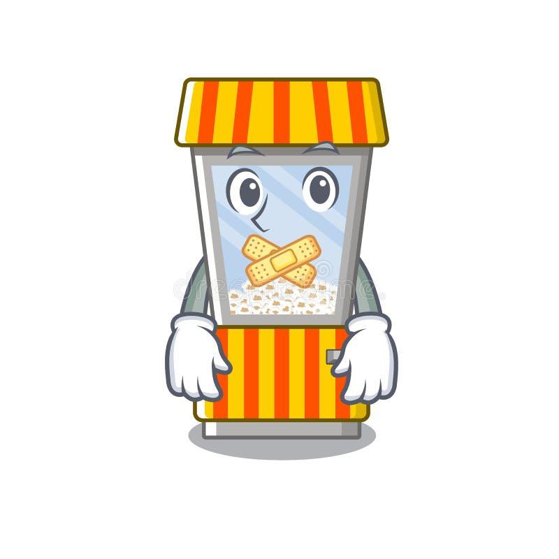 Silent popcorn vending machine in mascot shape. Vector illustration royalty free illustration