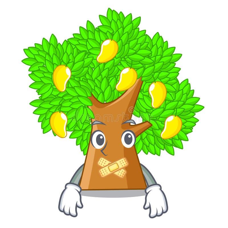 Silent toy cartoon mango tree above table. Vector illustration royalty free illustration