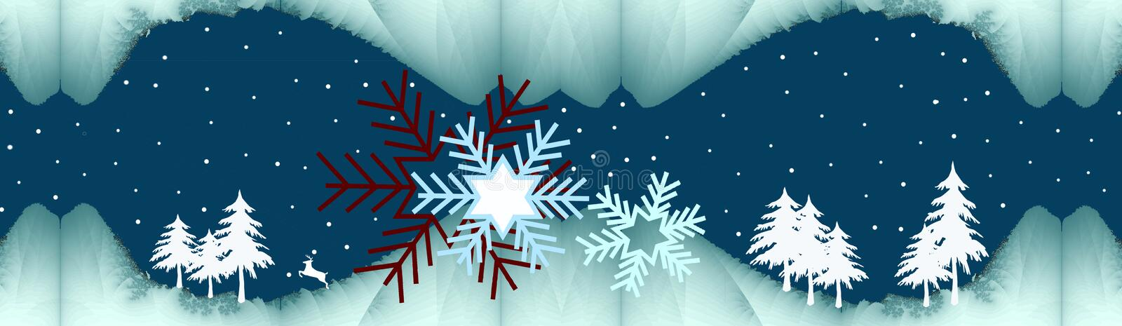 Silent winter night. Wintertime banner with little trees decorative snowflakes and a snowy sky royalty free illustration
