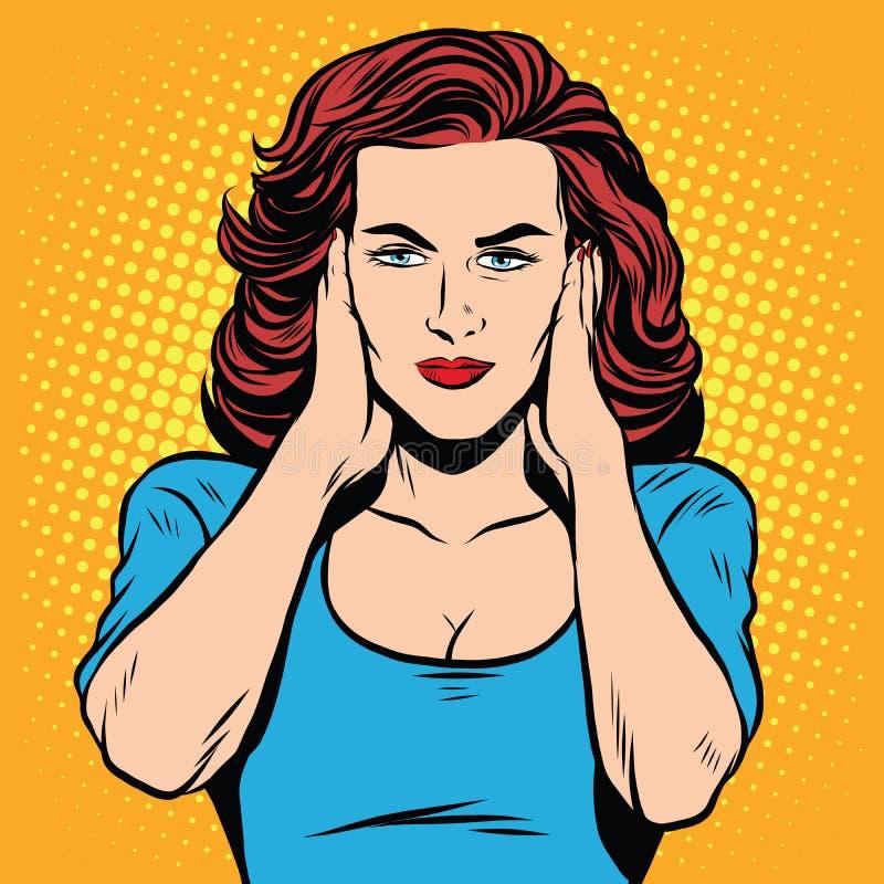 Silenzio chiuso delle orecchie della ragazza royalty illustrazione gratis