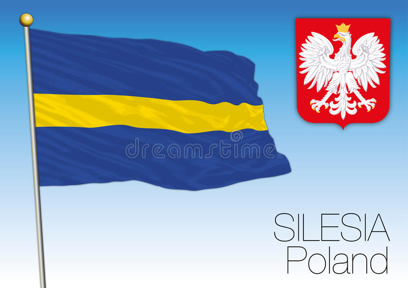 Silesia regional flag, Poland. Vector file, illustration royalty free illustration