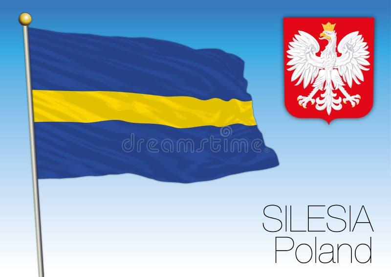 Silesia regional flagga, Polen royaltyfri illustrationer
