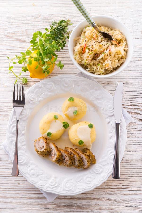 Silesian dumplings. Fresh and tasty Silesian dumplings stock photo