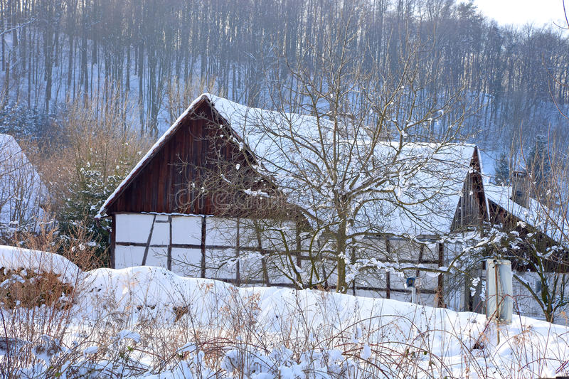 Silesian house. Typical old Silesian house in winter stock photo