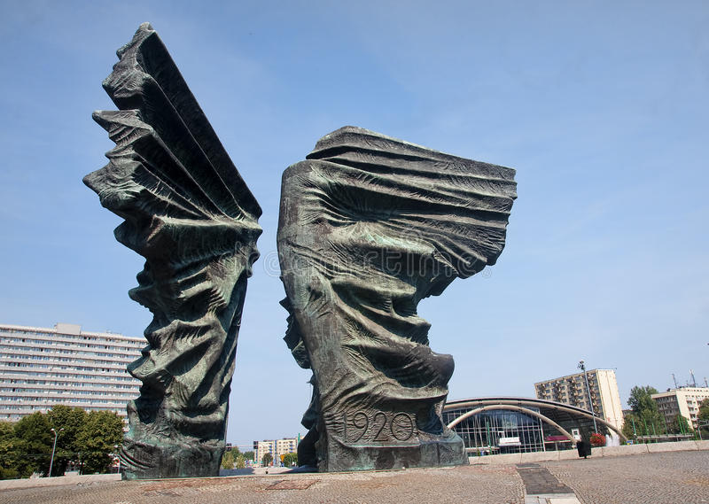 Silesian Insurgents Monument is located in the center Katowice (. Silesian Insurgents Monument is located in the center Katowice of the great square o royalty free stock photo