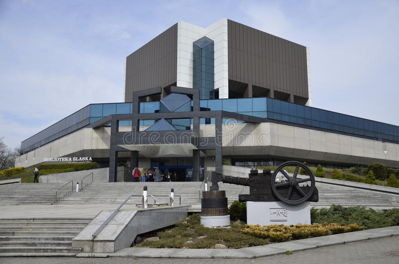 Silesian Library in Katowice, Silesia. Silesian Library (Polish: Biblioteka Slaska), is one of the most modern libraries in Poland, and is located in the south royalty free stock image