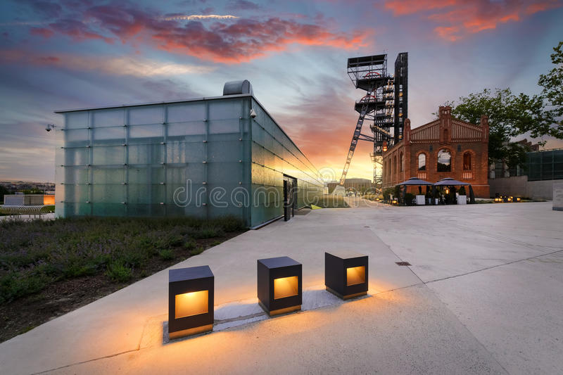 Silesian Museum during dramatic sunset. Poland. Europe. The former coal mine `Katowice`, seat of the Silesian Museum. The complex combines old mining buildings royalty free stock photography
