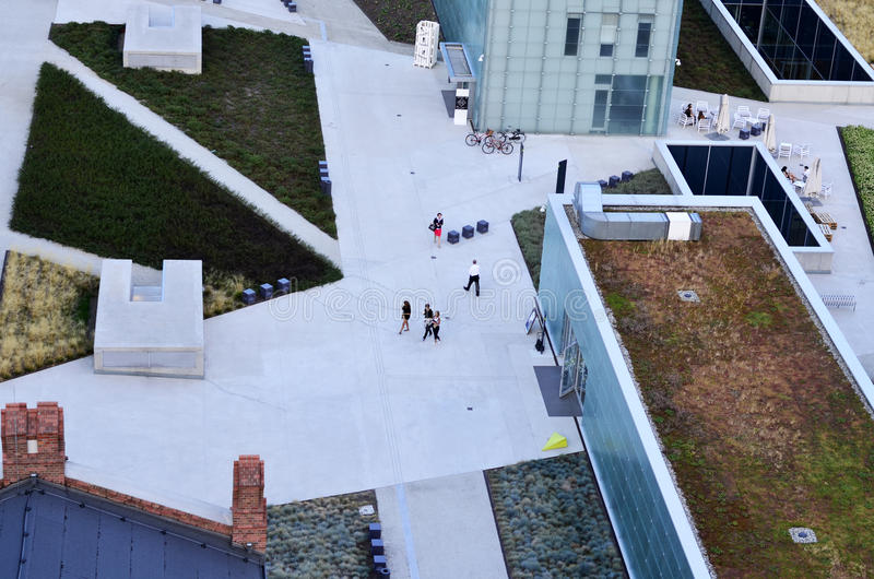 Silesian Museum, Katowice. The new Silesian Museum in Katowice (Poland), view from the top. August 2015 stock images