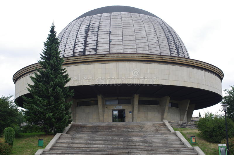 The Silesian Planetarium in Poland. The Silesian Planetarium, largest and oldest planetarium in Poland located in the city of Chorzow. Its 23-meter dome can seat stock images