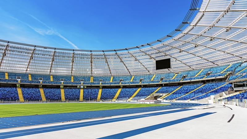 Silesian Stadium. With a capacity of 55211 re-opened in October 2017 after 8 years of renovations. Delays were caused by flaws discovered while mounting up the stock photo