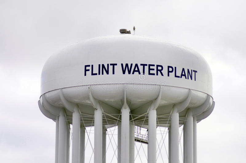 Silex, Michigan : Flint Water Plant Tower photo stock