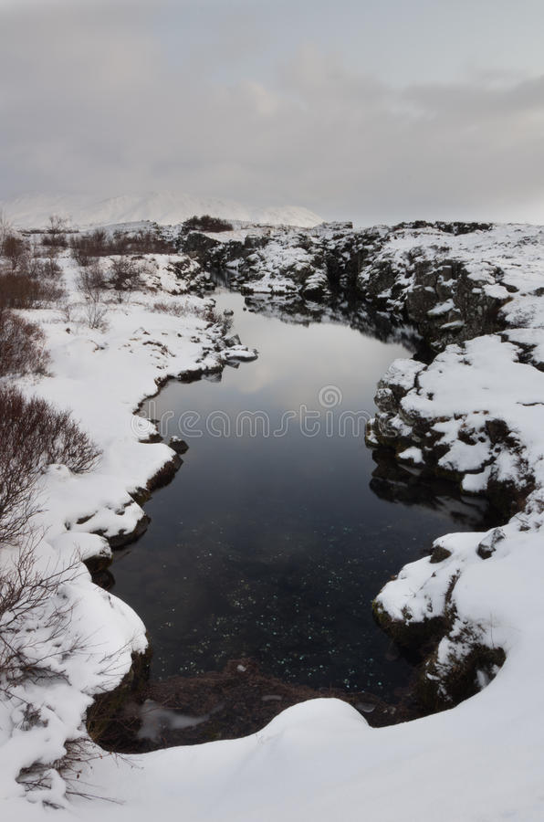Silfra. Rift in Thingvellir national park in Iceland. America on one side, Europe on the other. the cleanest water in the world, it comes from the glaciers and royalty free stock photo