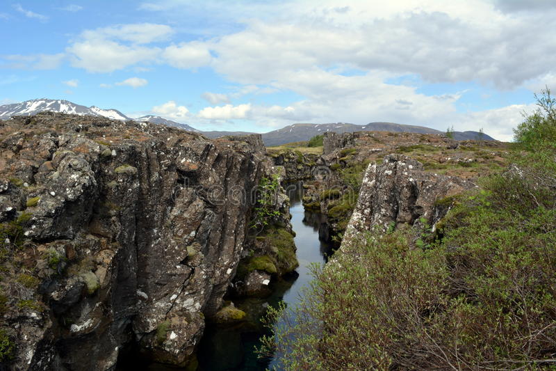 Silfra Thingvellir park Silfra awaria górotwórczy talerze Atlantyk grań zdjęcia royalty free