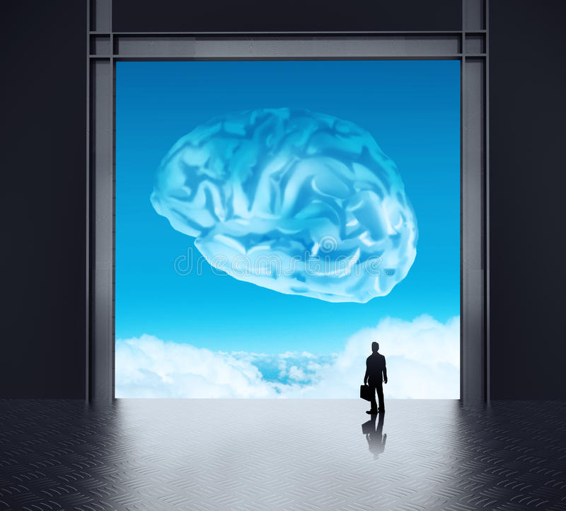 Silhoette businessman looking to brain. As cloud icon concept royalty free illustration