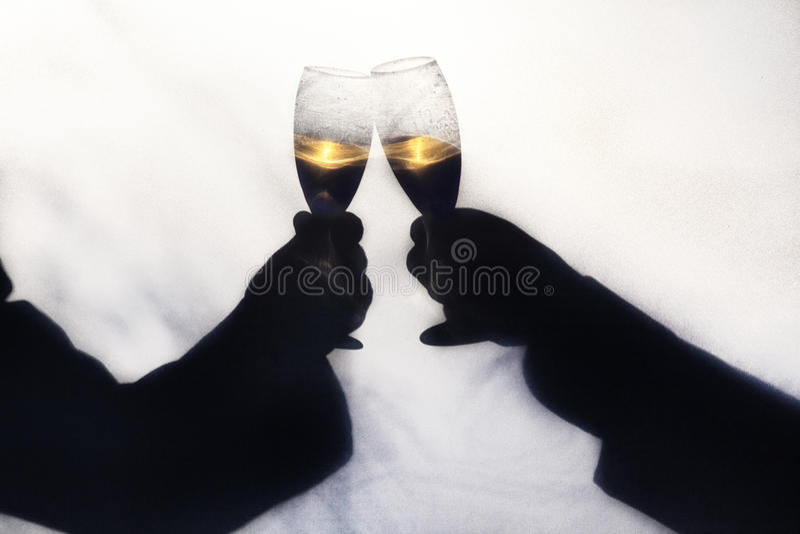 Silhoette de Champagne Toast imágenes de archivo libres de regalías