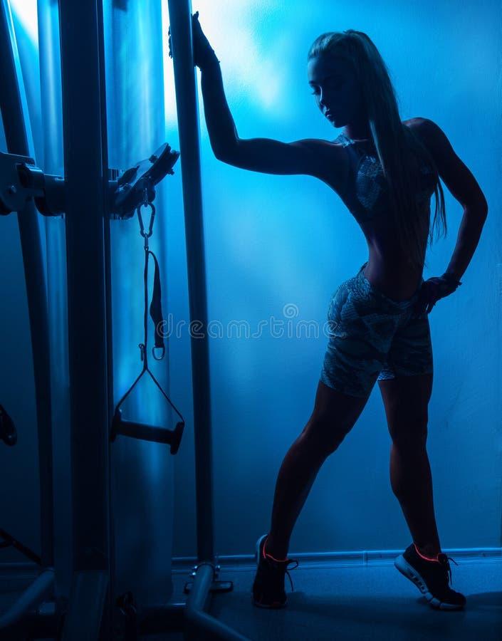 Silhoette van sportenwijfje in gymnastiek royalty-vrije stock fotografie