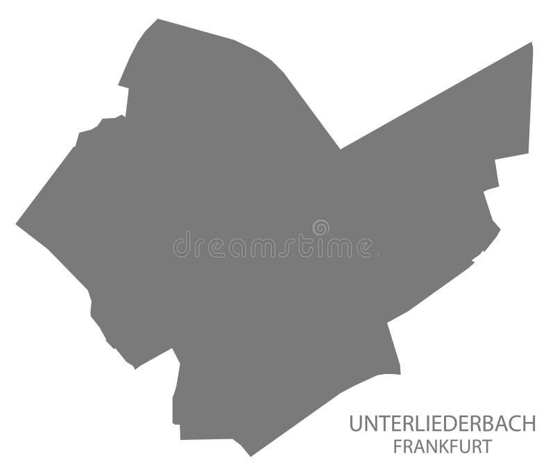 Silhoue gris del ejemplo del mapa del distrito de Francfort Unterliederbach ilustración del vector