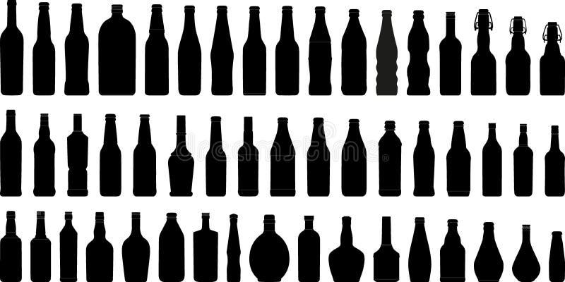 Silhouet 1 van flessen (+vector) royalty-vrije illustratie