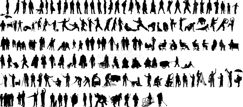 Silhouet 1 van mensen (+vector) royalty-vrije illustratie