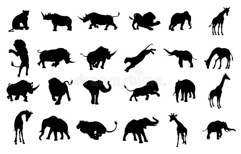 Silhouet Afrikaanse Safari Animal stock illustratie