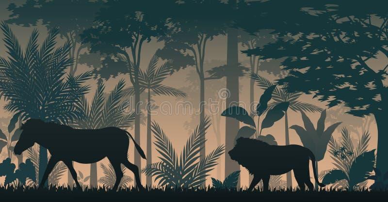 Silhouet animalson zonsondergang in bos royalty-vrije illustratie
