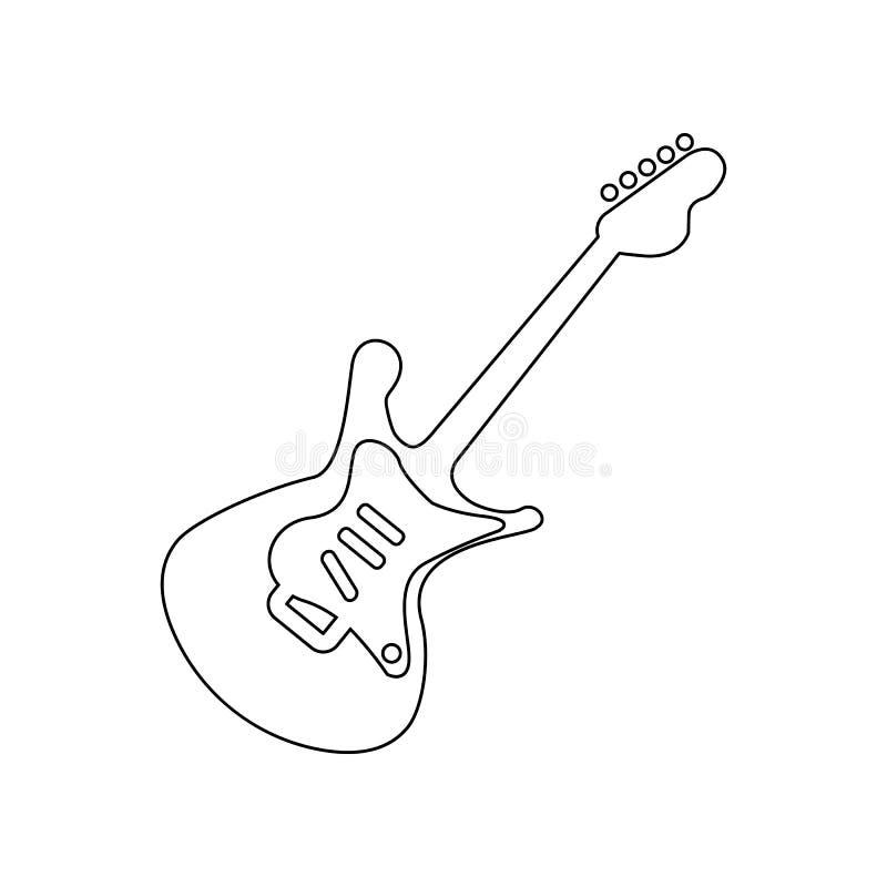 Silhouet basowej gitary ikona Element muzyczny instrument dla mobilnego poj?cia i sieci apps ikony Kontur, cienieje kreskow? ikon royalty ilustracja