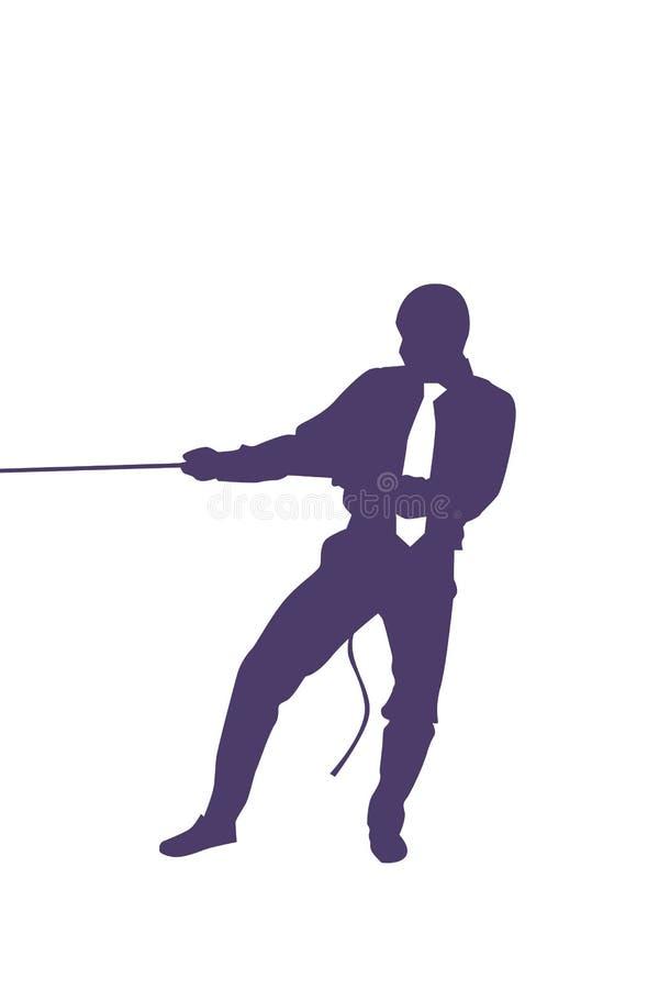 Silhouet Bedrijfsmens die Kabel Sterke Zakenman Competition Concept trekken royalty-vrije illustratie