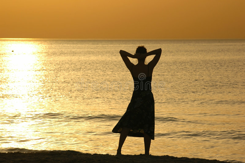 Silhouet bij zonsondergang stock fotografie
