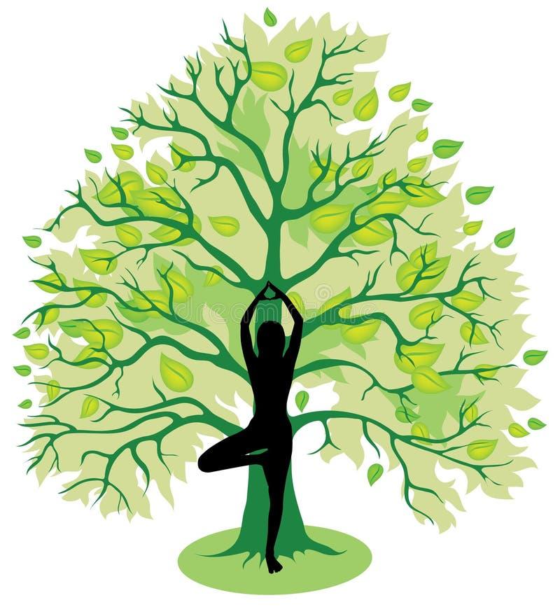De yoga van de boom stelt royalty-vrije illustratie