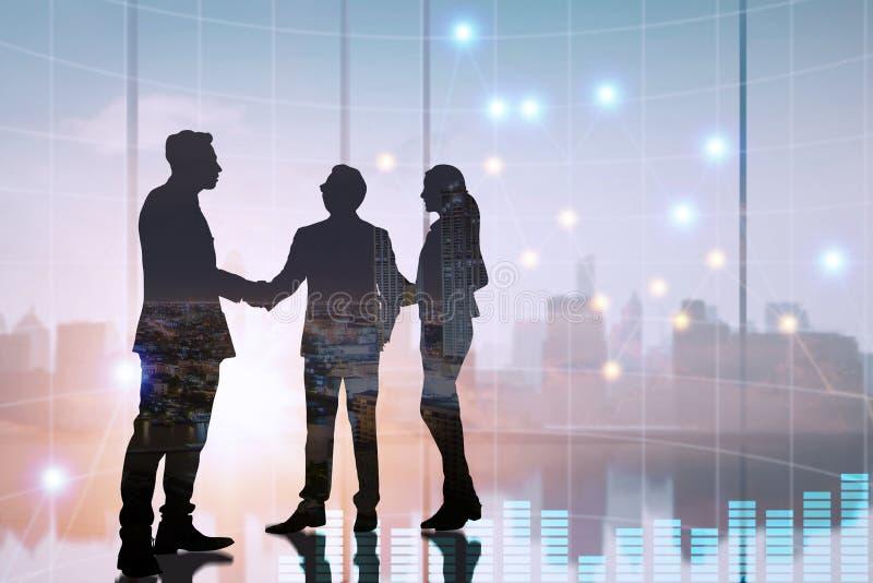 Silhouet de bedrijfsmensen schudden hand en onderhandeling in bureau, succesvol besprekingsconcept vector illustratie
